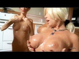 Almost naked girl on girl